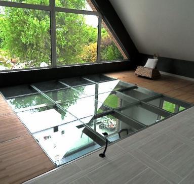 Mezzanine vitrée ( ossature inox )