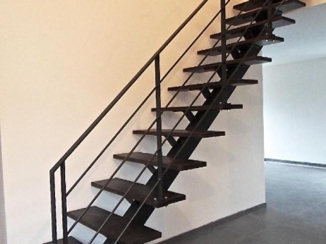 Escalier à limon en central en acier laqué/bois teinté